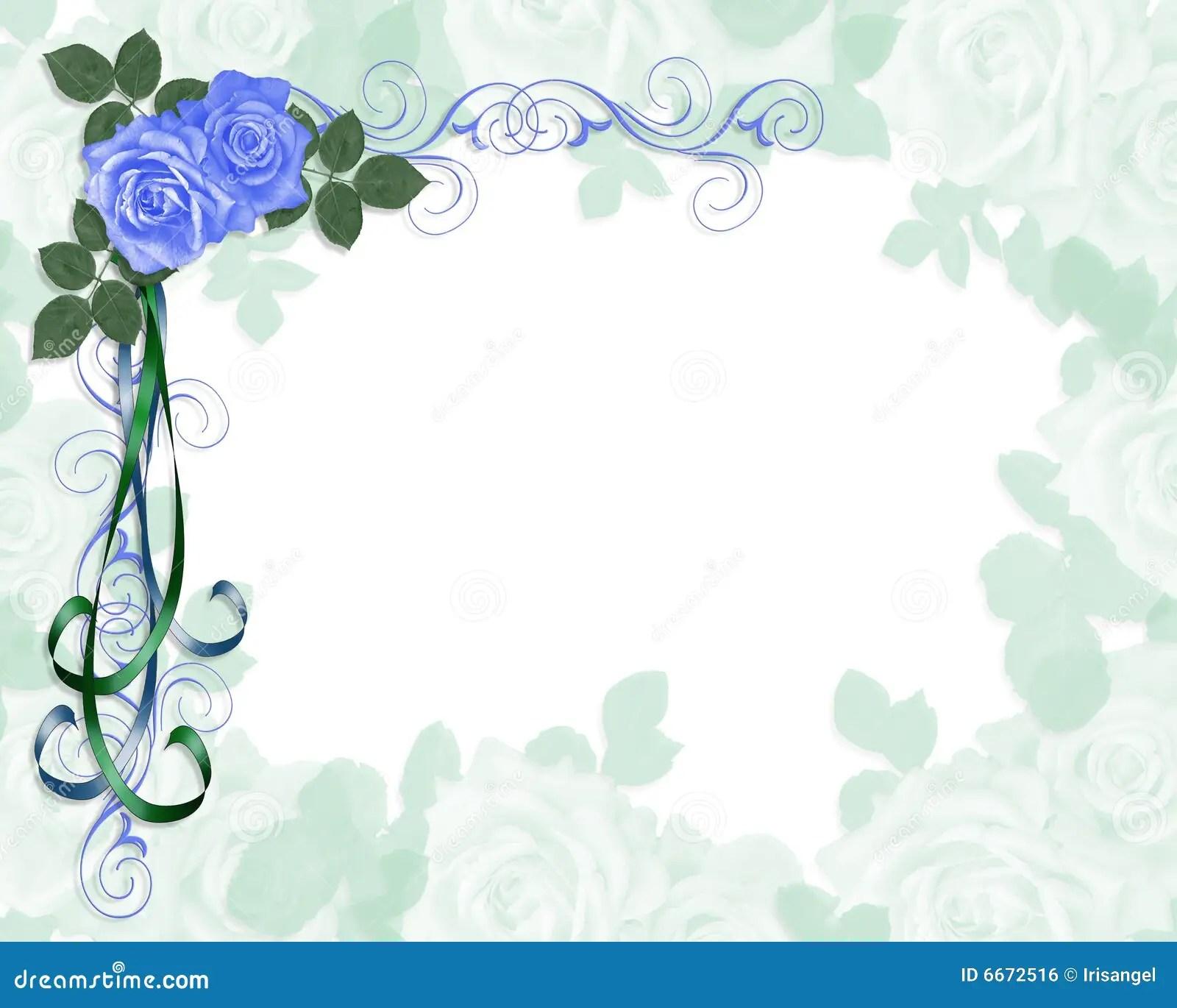 Esquina Azul De Las Rosas De La Invitacin De La Boda