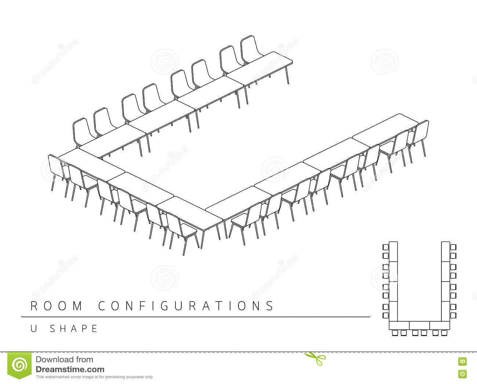 Estilo Da Forma Da Configuracao U Da Disposicao Da Instalacao Da Sala De Reuniao Ilustracao Do