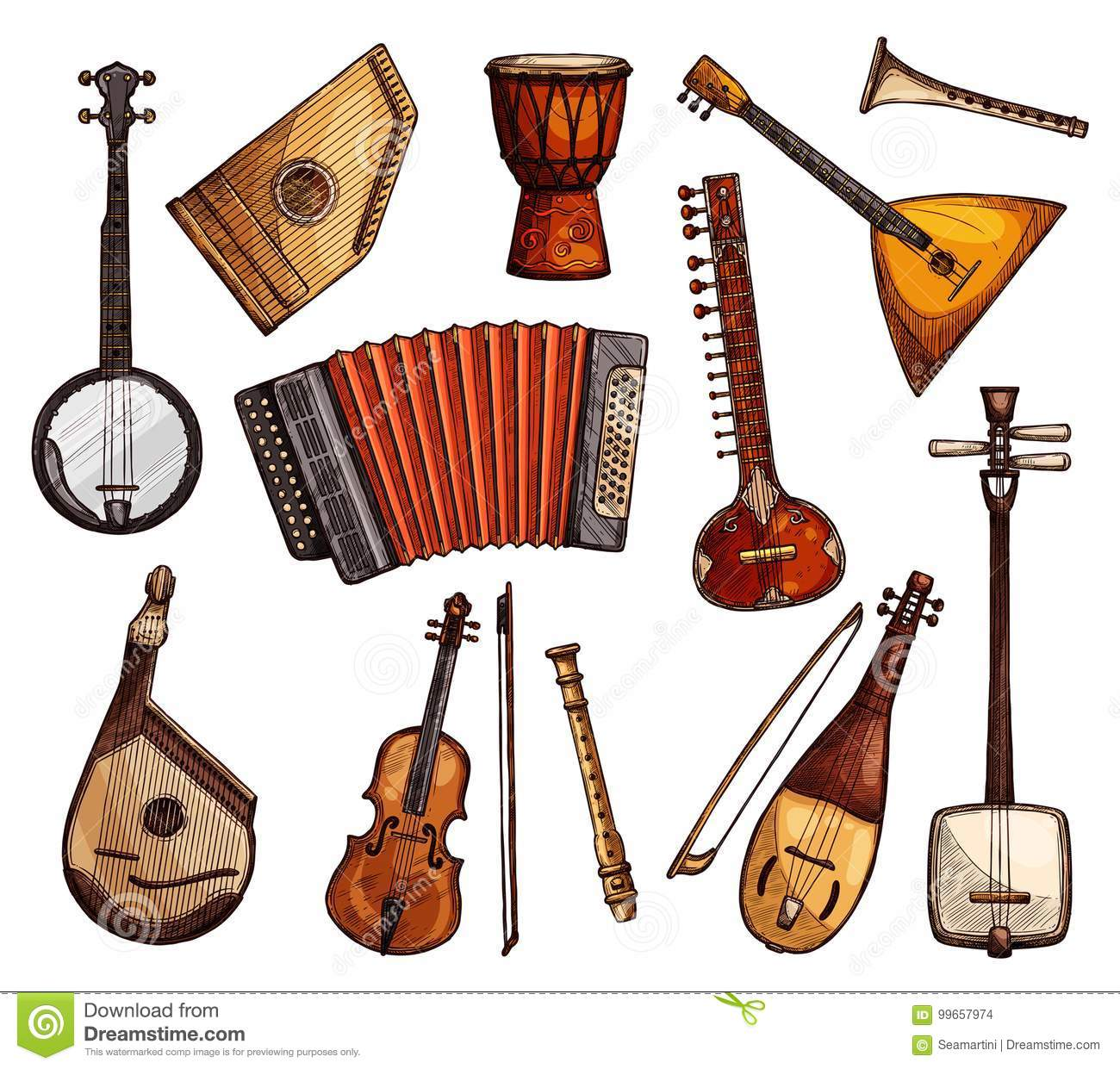 Ethnic Musical Instruments Sketches Set Stock Vector