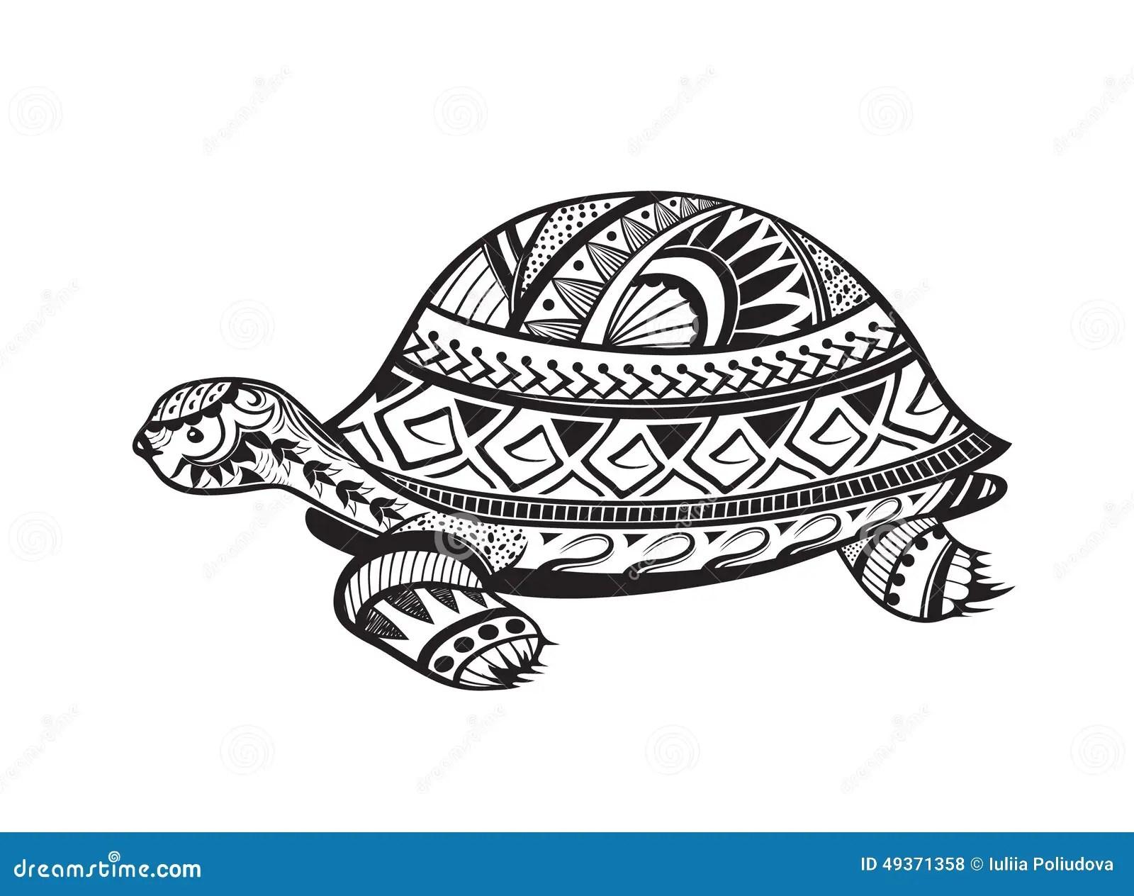 Ethnic Ornamented Tortoise Stock Illustration