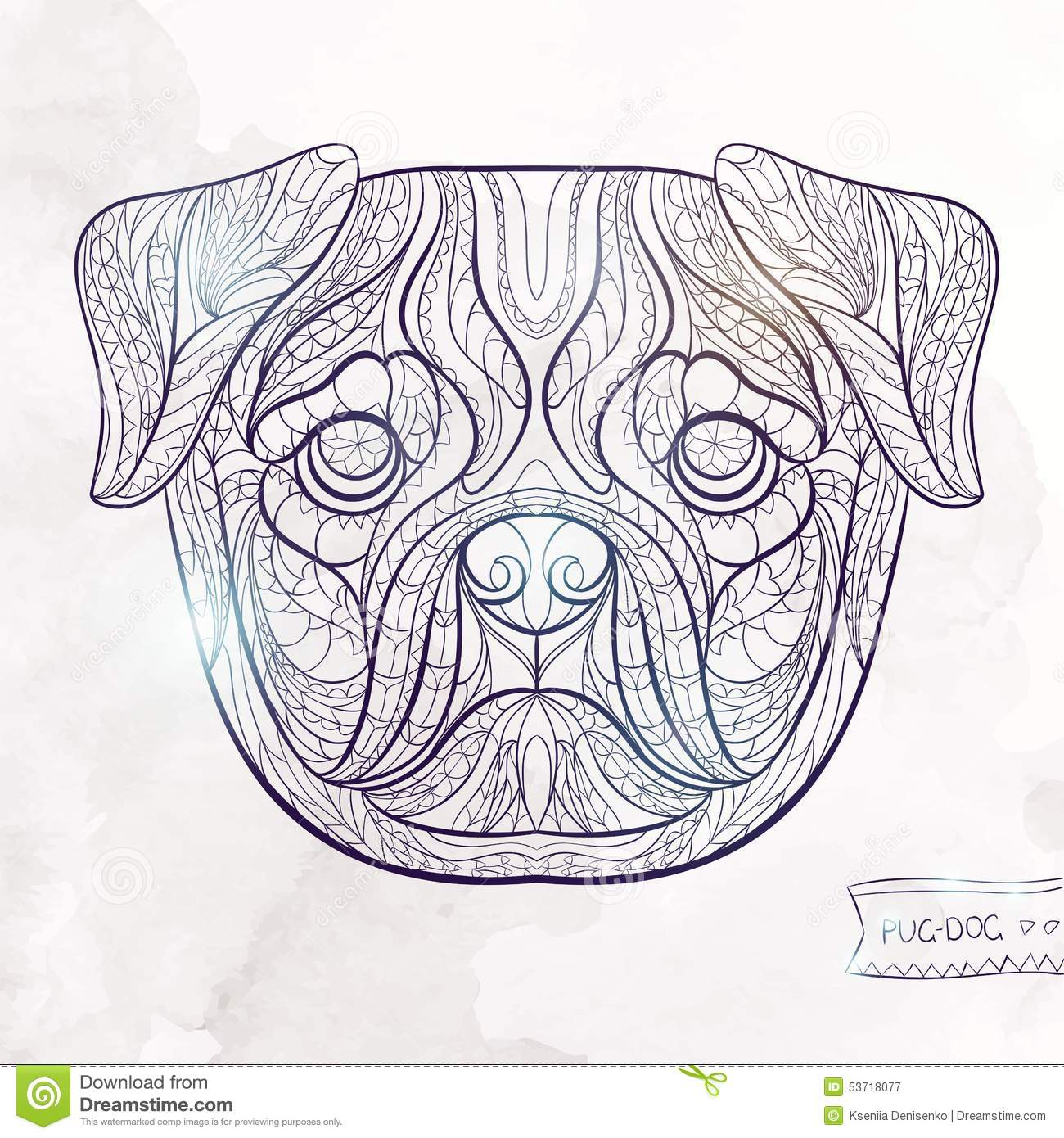 Ethnic Patterned Head Of Pug Dog Stock Vector Image