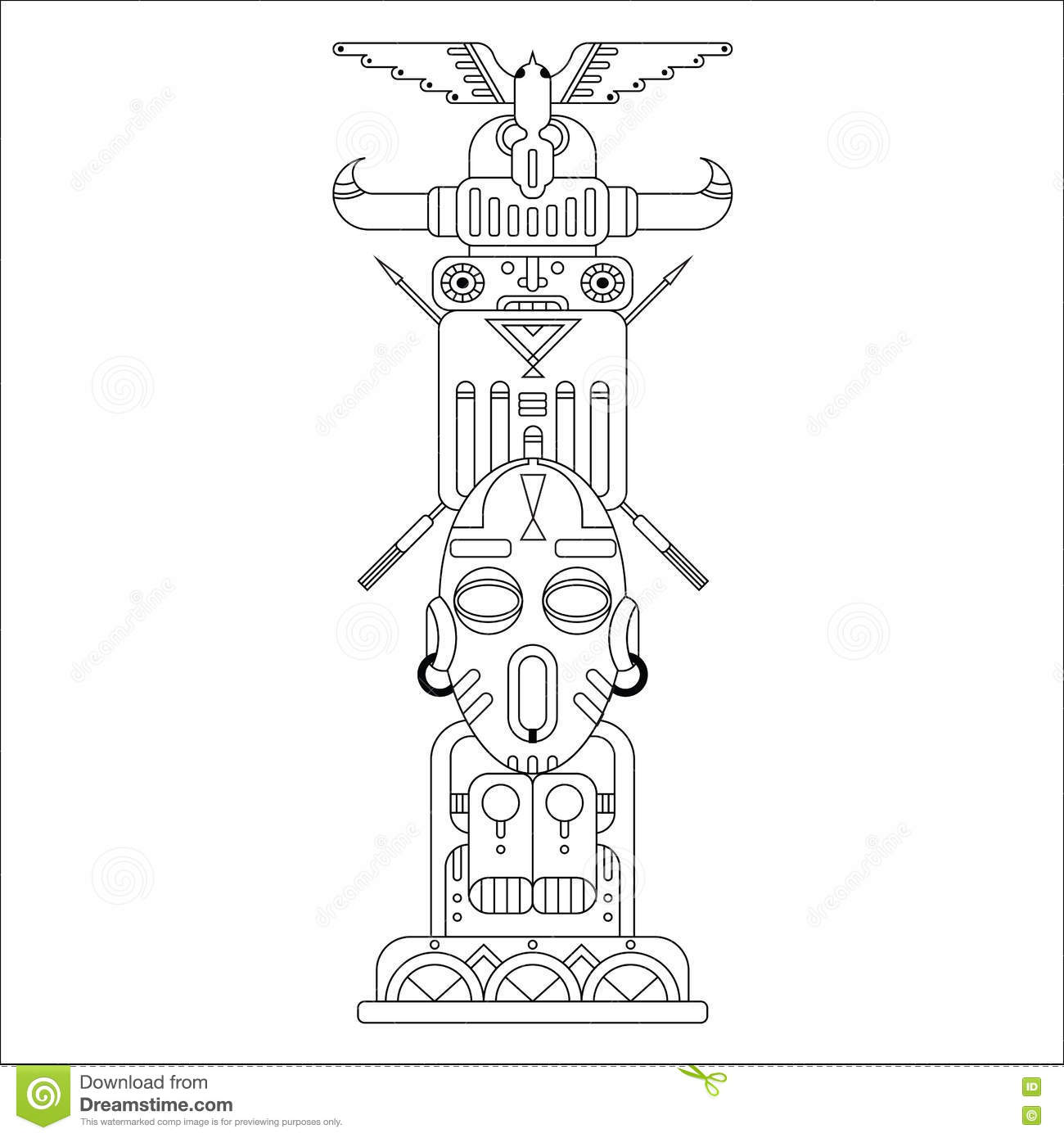Vector Totem Pole Vector Illustration