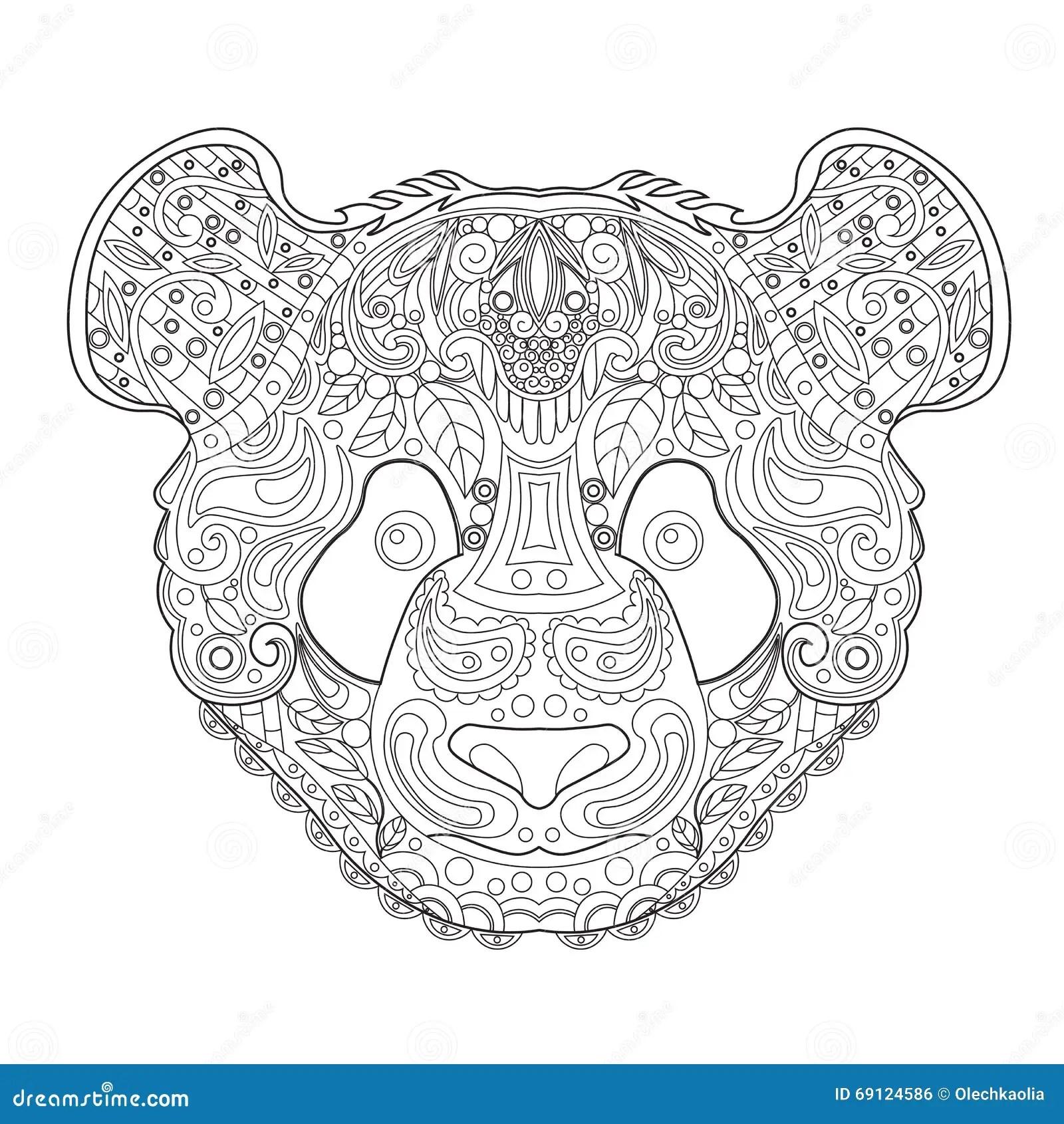 Ethnic Zentagle Ornate Hand Drawn Panda Head Black And