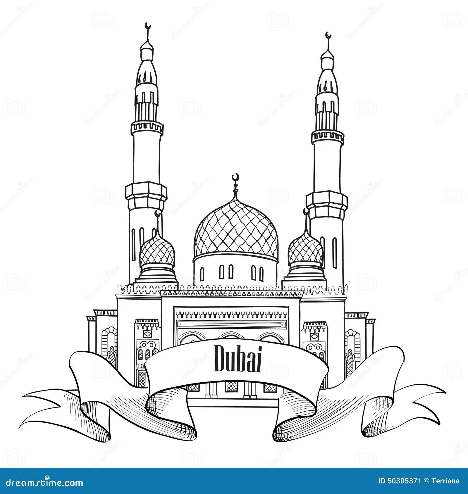 Etichetta Della Citta Del Dubai Simbolo Dei Uae Di Viaggio