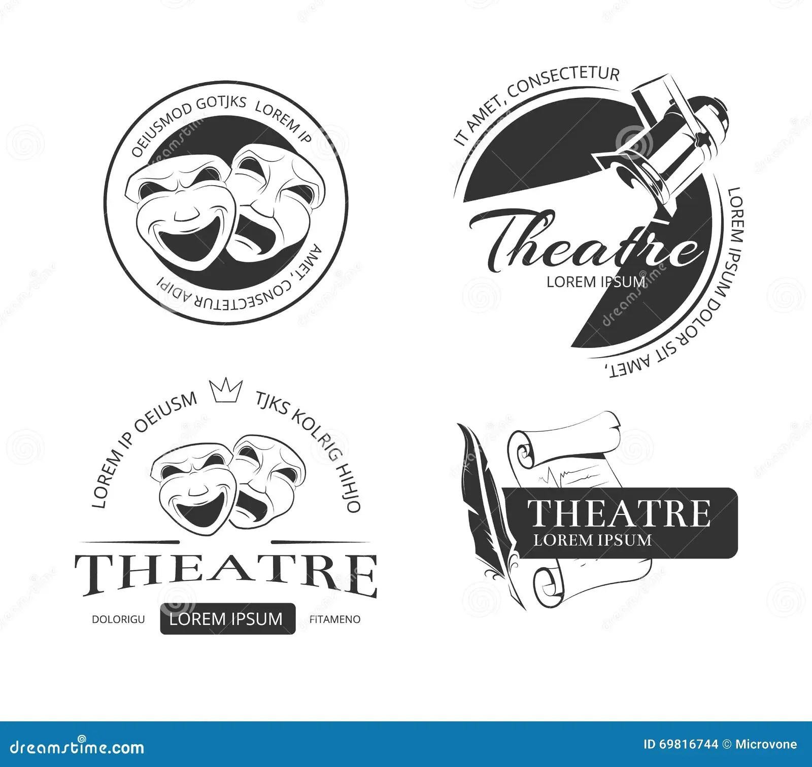 Etichette D Annata Emblemi Distintivi E Logo Del Teatro