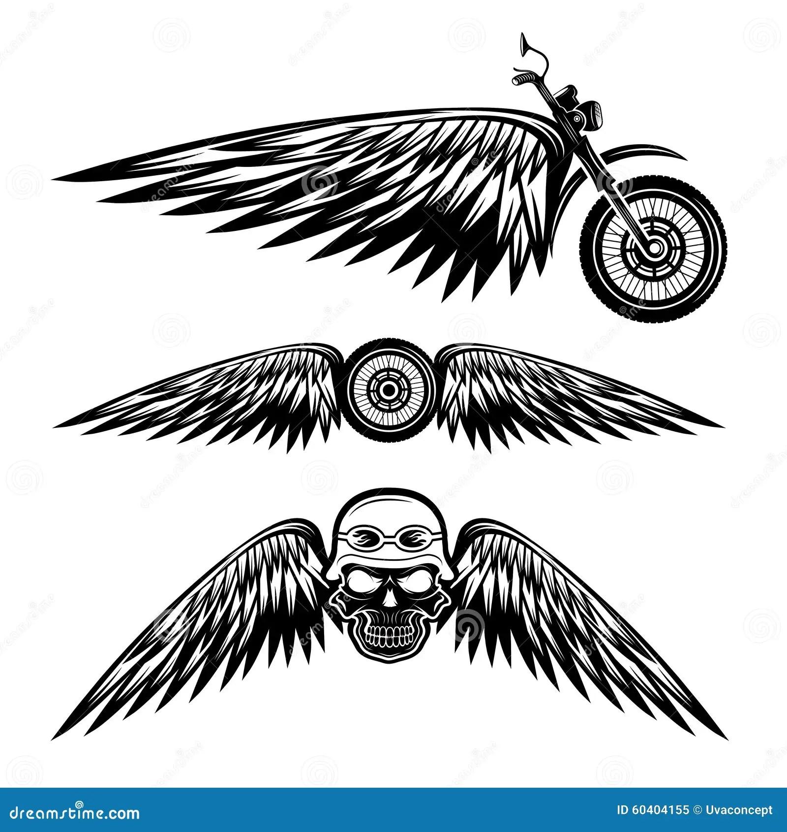Etiquetas Con La Rueda La Bici Y Los Craneos Con Las Alas