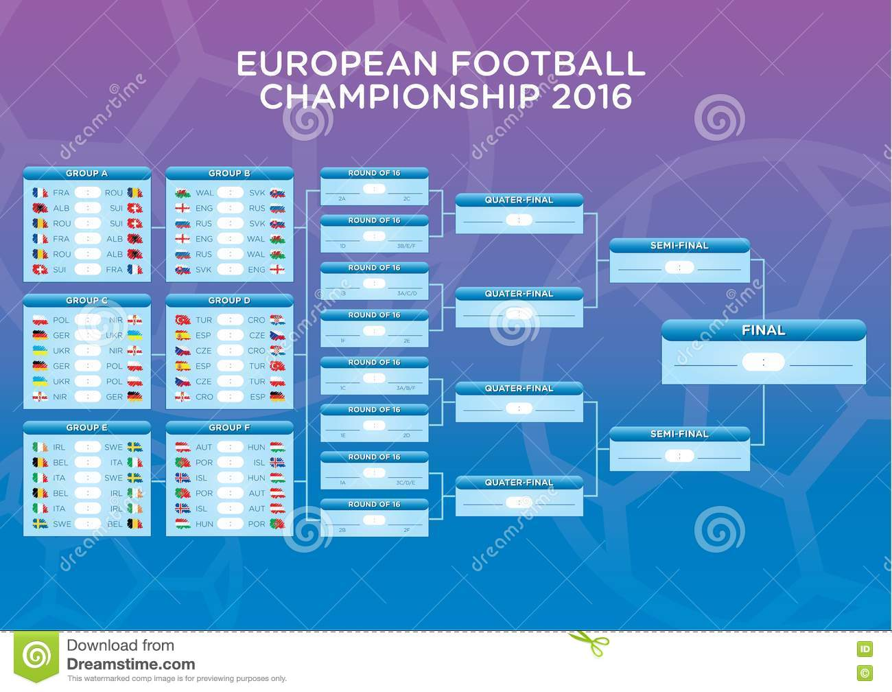 Euro Footbal Match Schedule Template For Web Print Football Results Table Flags Of
