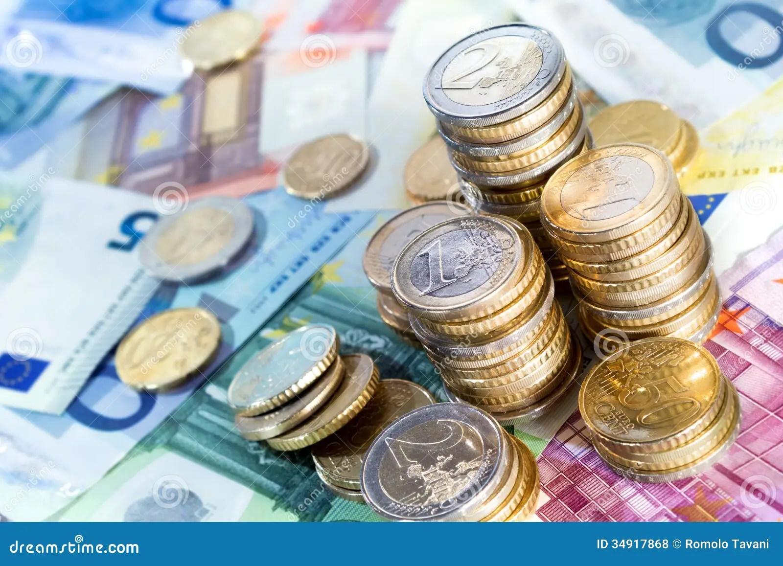 Euro Money Stacks And Bills Royalty Free Stock Photos