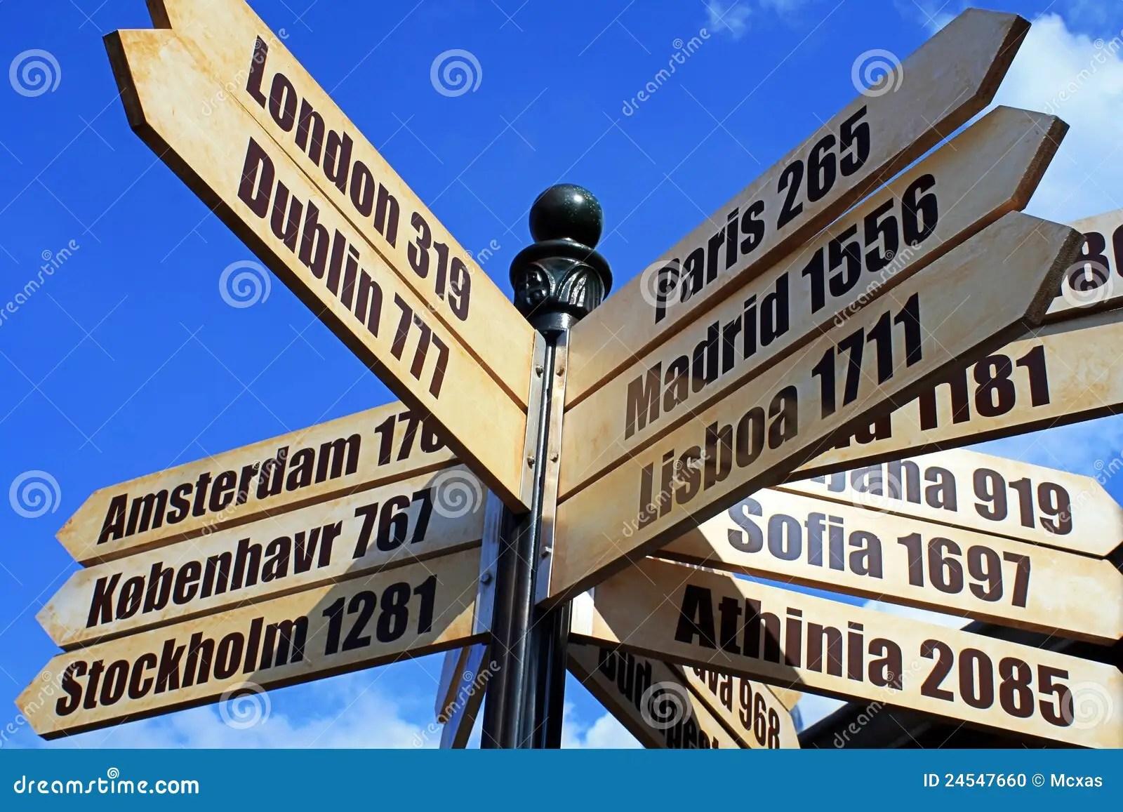 European Cities Distance Travel Sign Stock Photo