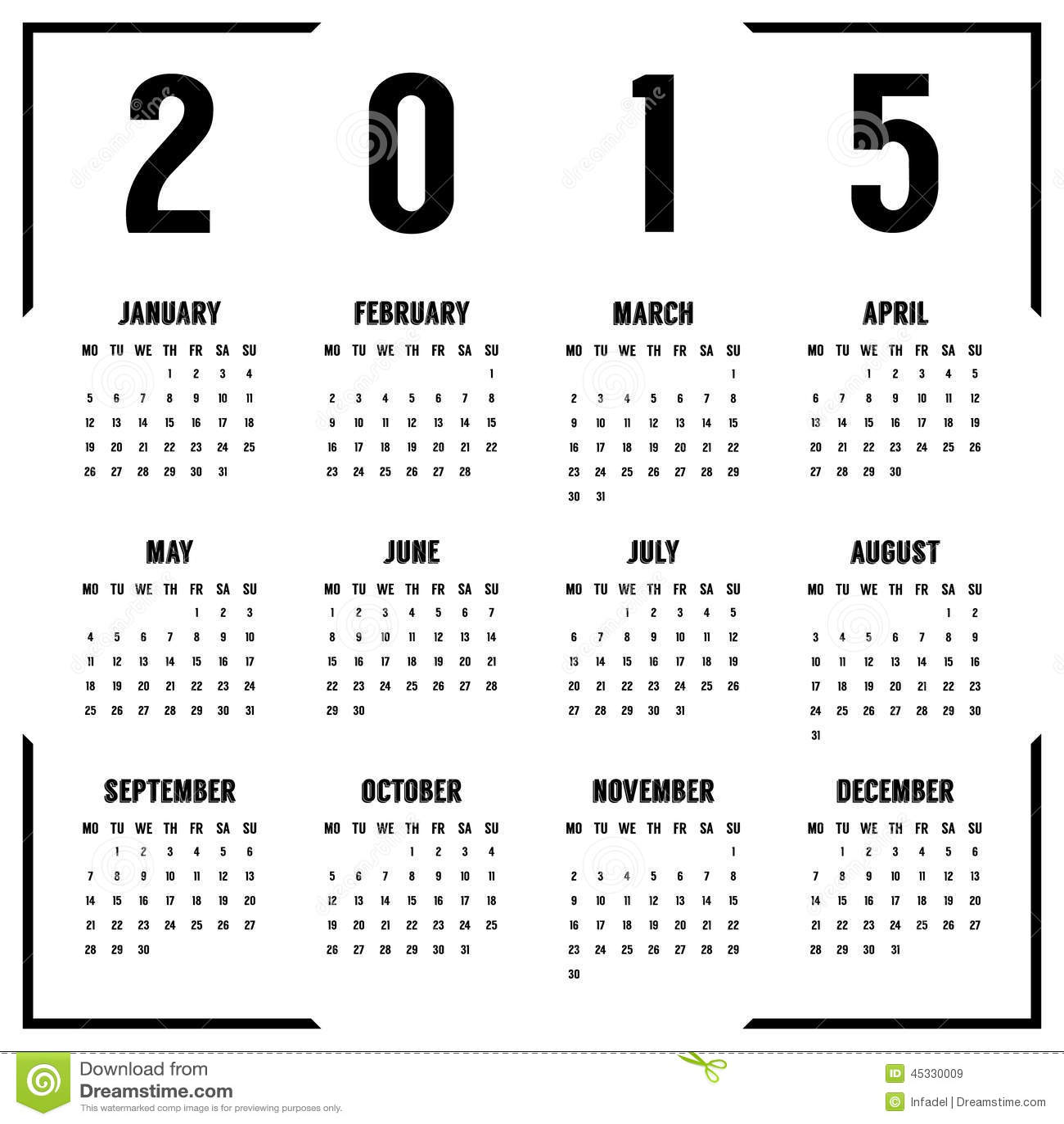 European Black And White Year Calendar Stock Vector