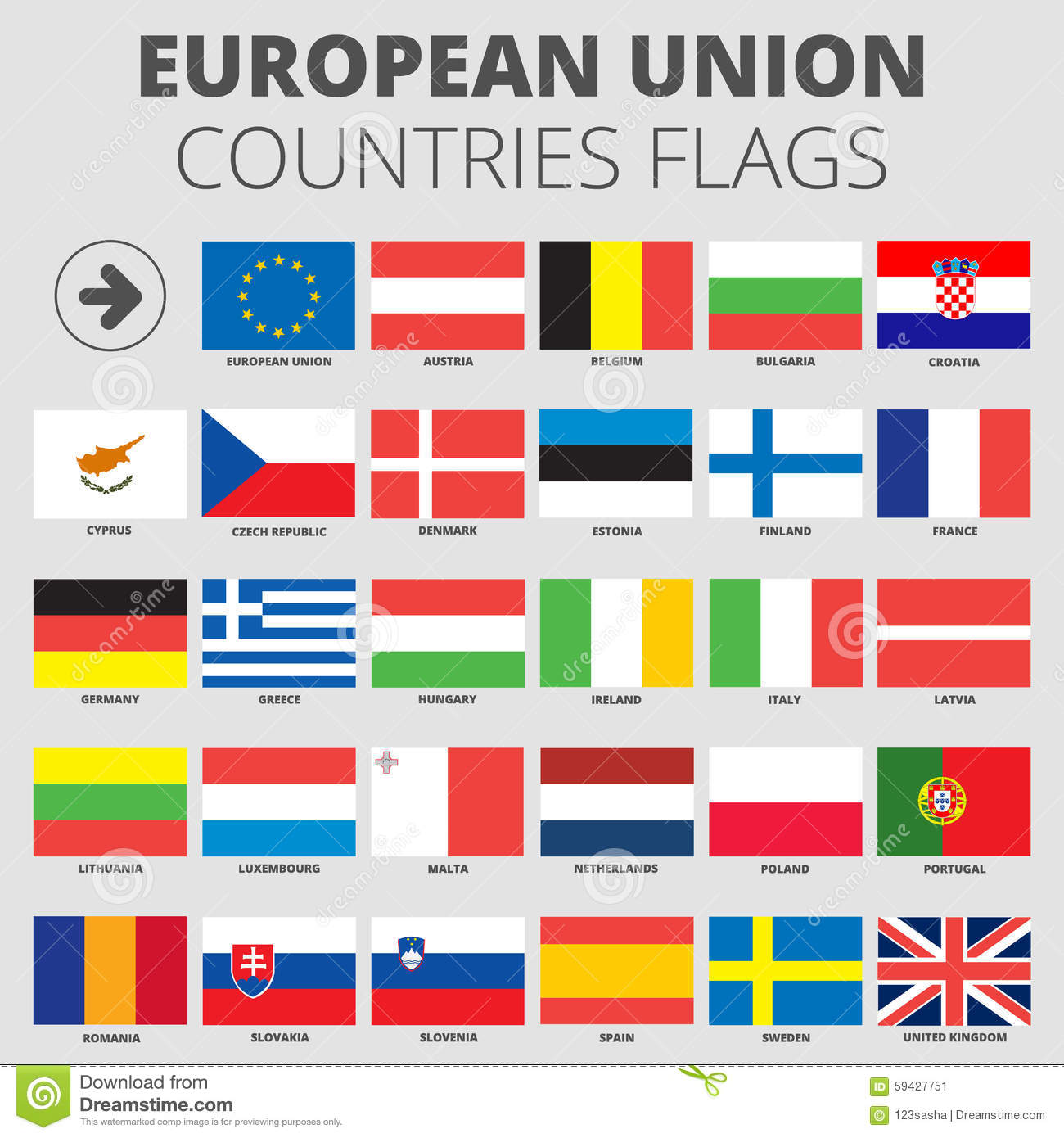European Union Country Flags Stock Vector