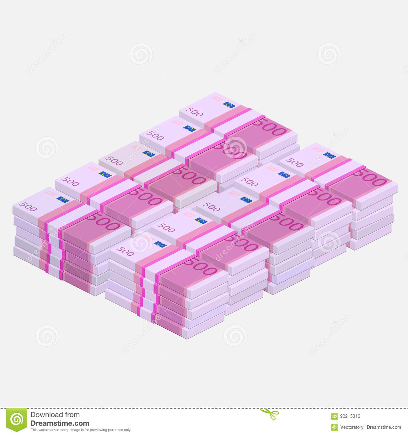 Euros Money Stack Stock Vector Illustration Of Cost