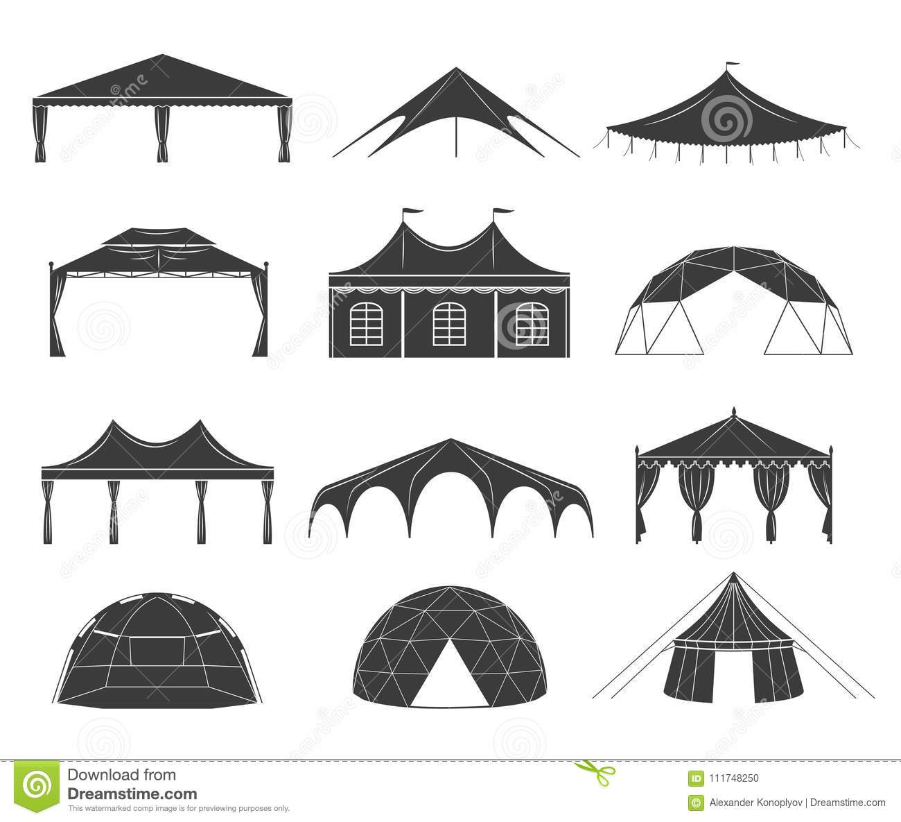 Event Tent Set Stock Vector Illustration Of Outdoor