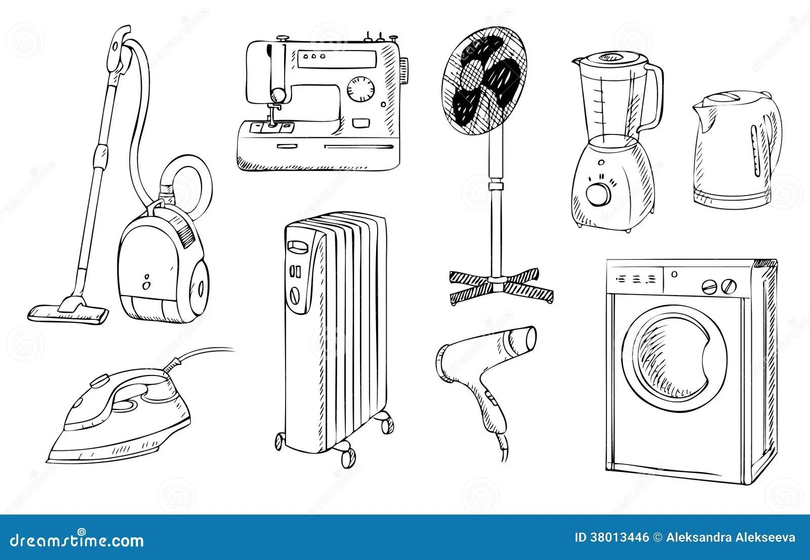 Everyday Household Appliances Set Stock Vector