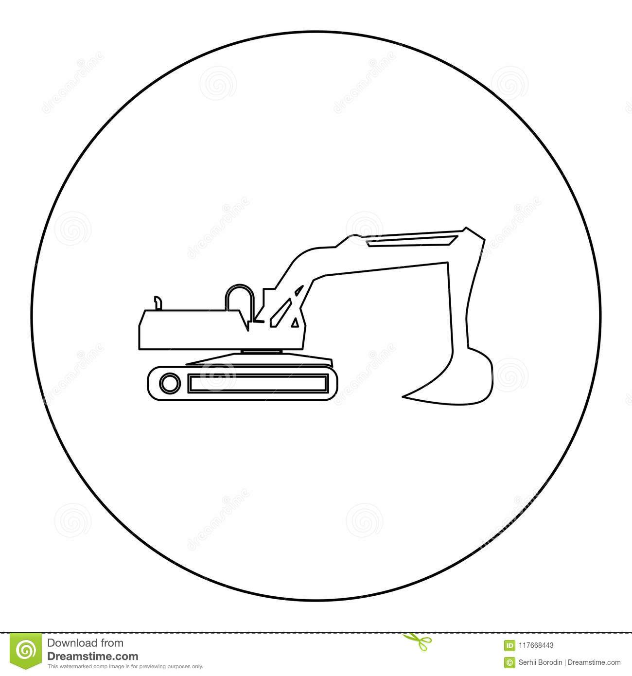 Excavator Illustration Color Isolated Art Royalty Free