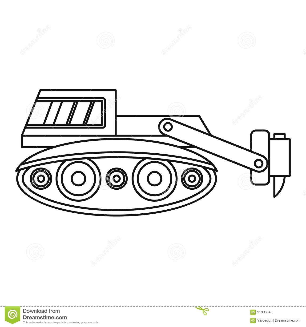 Outline Excavator Isolated Cartoon Vector