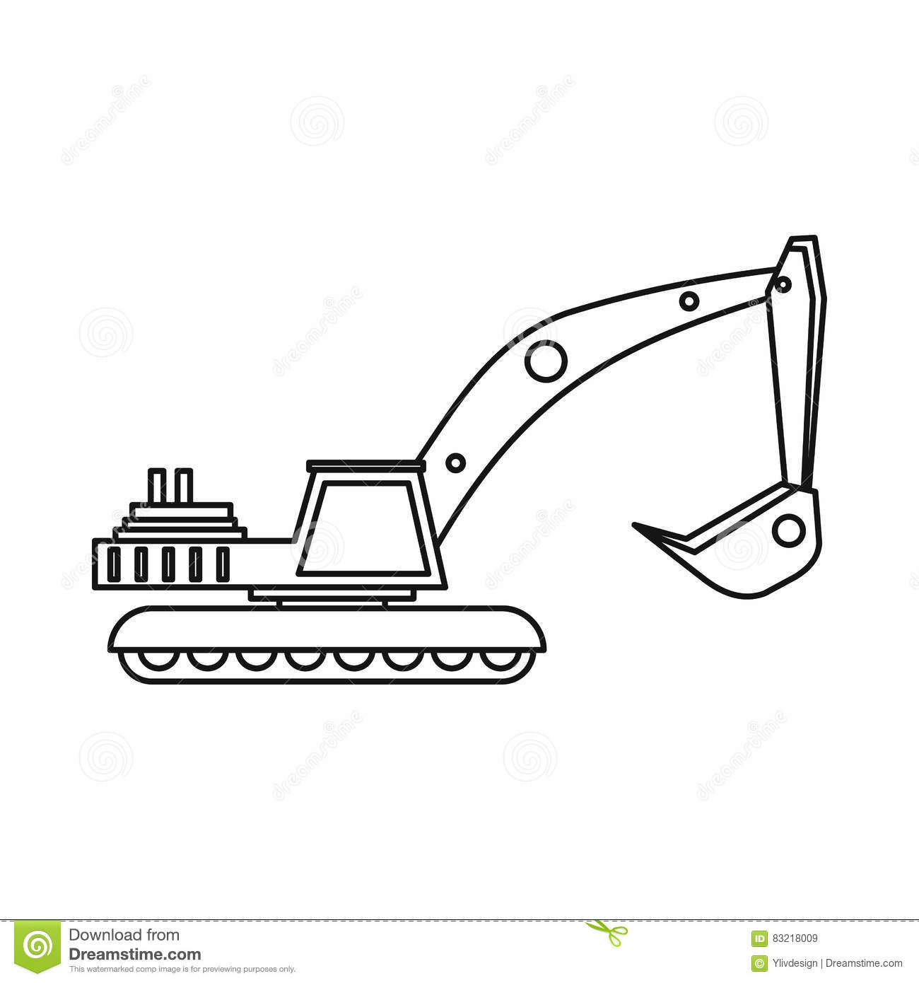 Excavator Icon In Monochrome Style Isolated On White