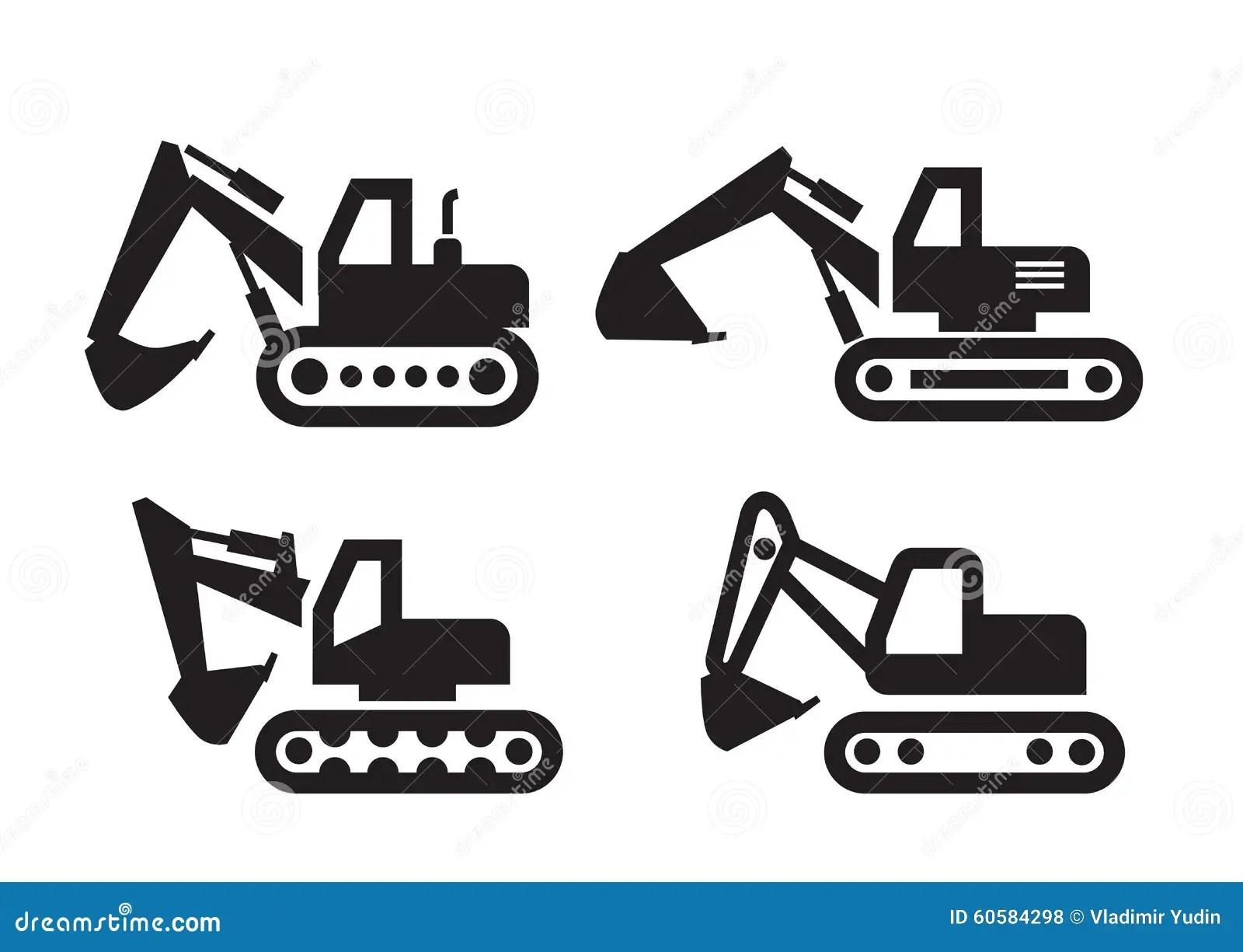 Excavator Icon Stock Vector