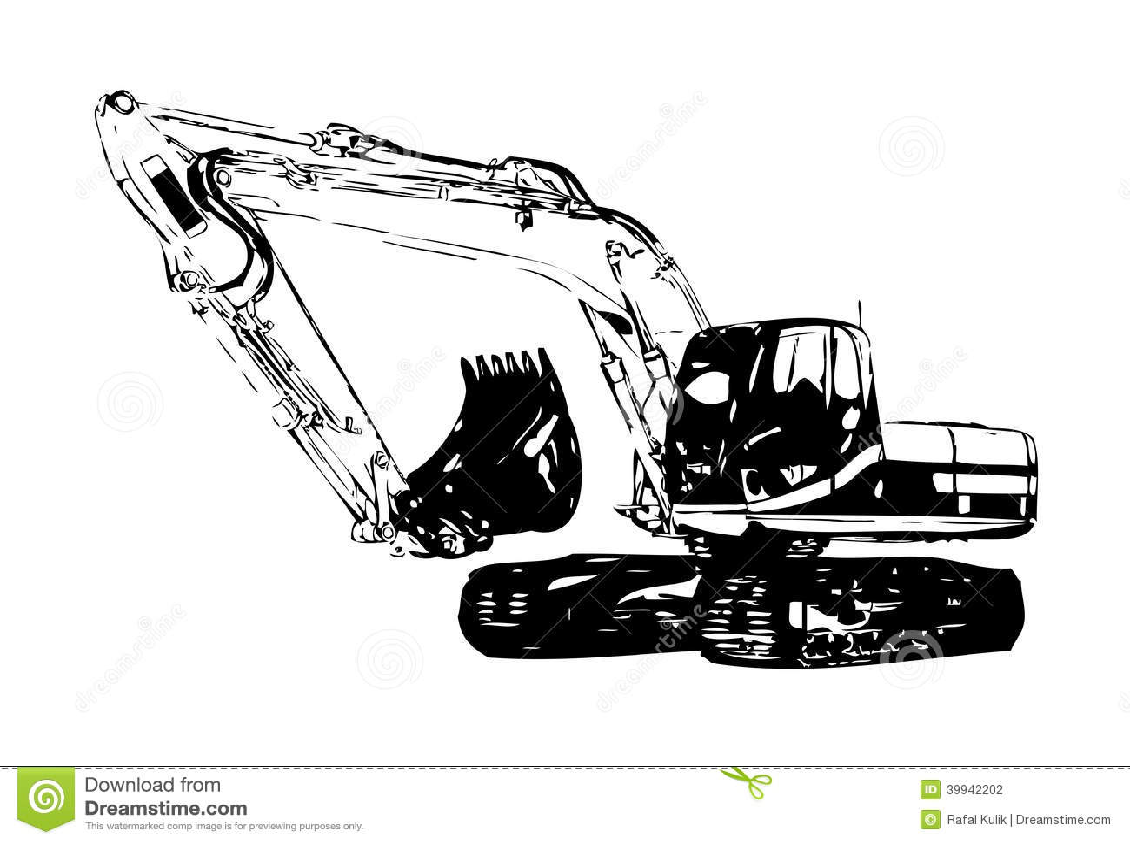 Excavator Illustration Color Isolated Art Work Stock