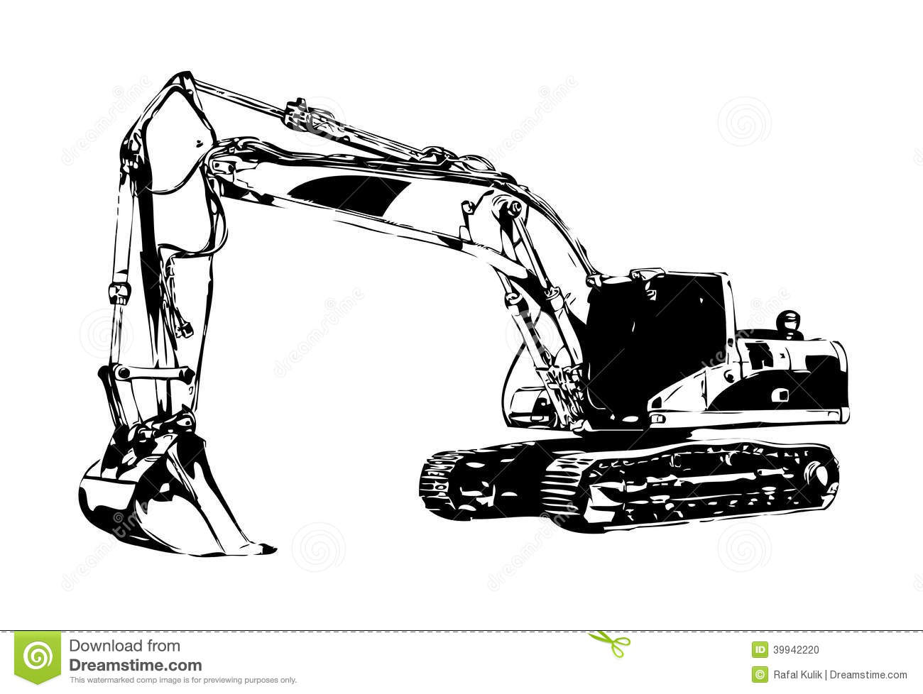 Excavator Illustration Color Isolated Art Work Stock