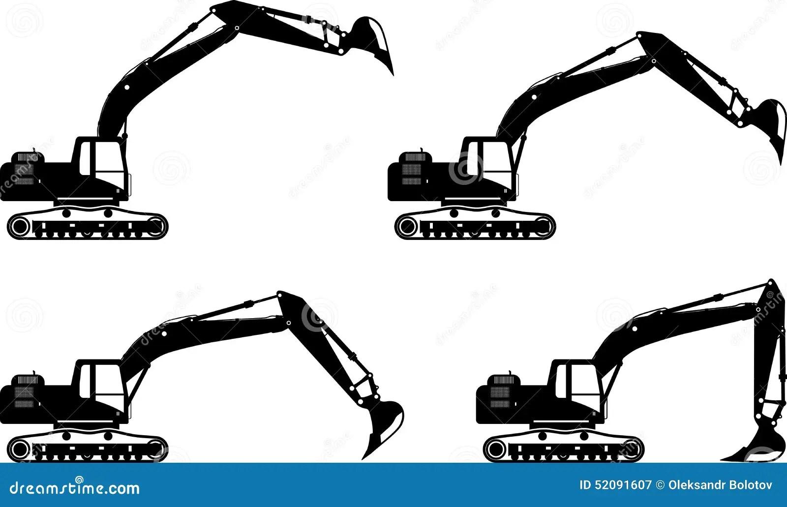 Excavators Heavy Construction Machines Vector Stock Vector