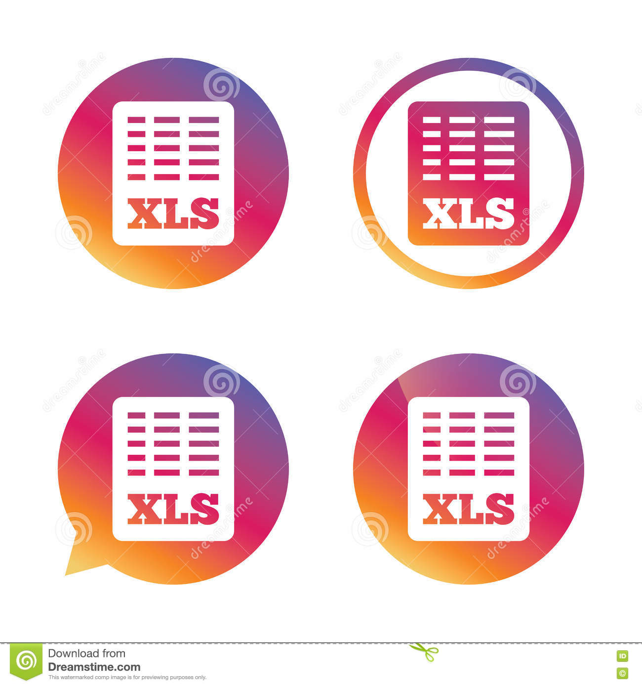 Excel File Document Icon Download Xls Button Stock