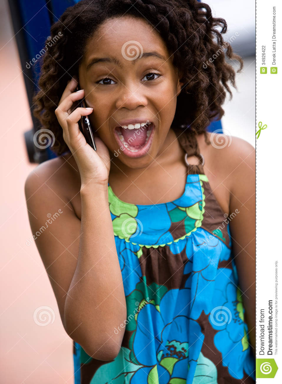 Excited Young Lady On Cellphone Stock Photo Image Of