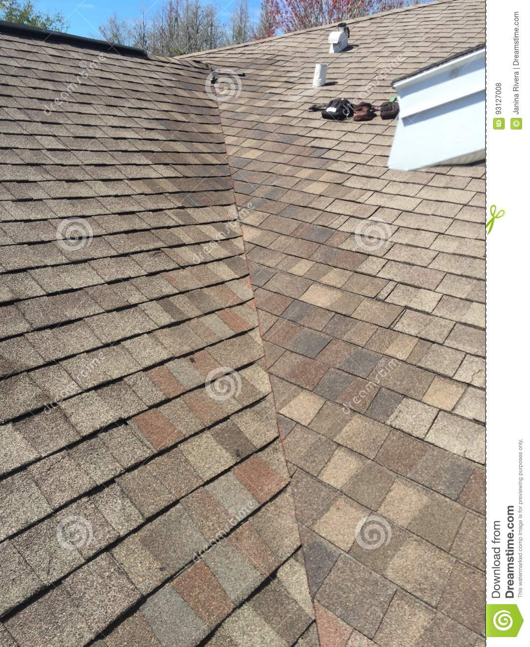 exemplary roof leak repairs on valley of residential shingle roof roofing stock photo image of house roof 93127008