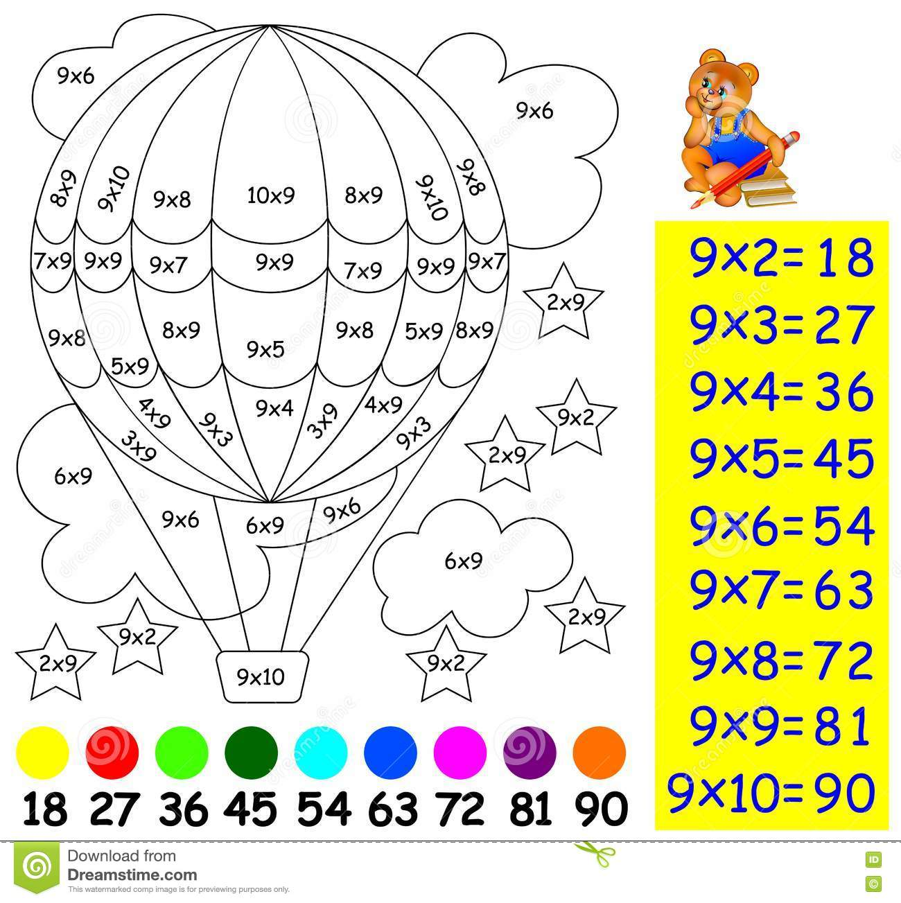 Exercise For Children With Multiplication By Nine