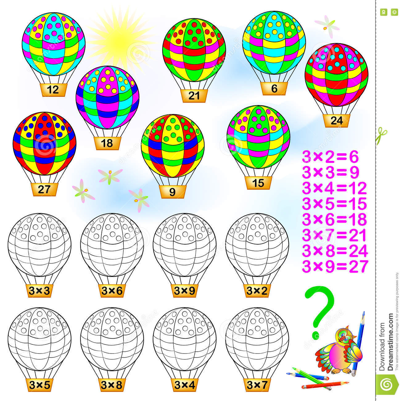 Exercise For Children With Multiplication By Three Stock