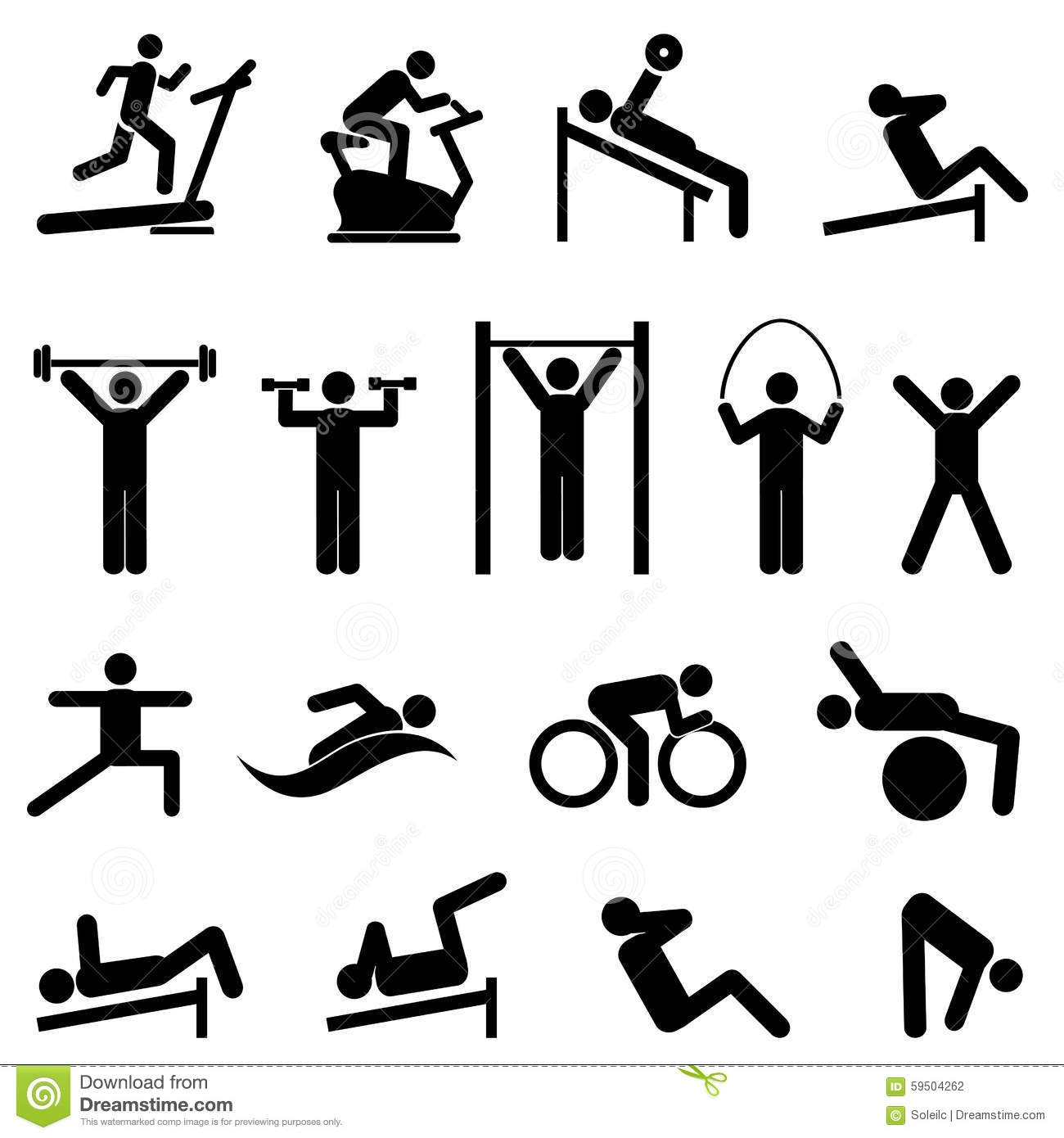 Exercise Fitness Health And Gym Icons Stock Vector