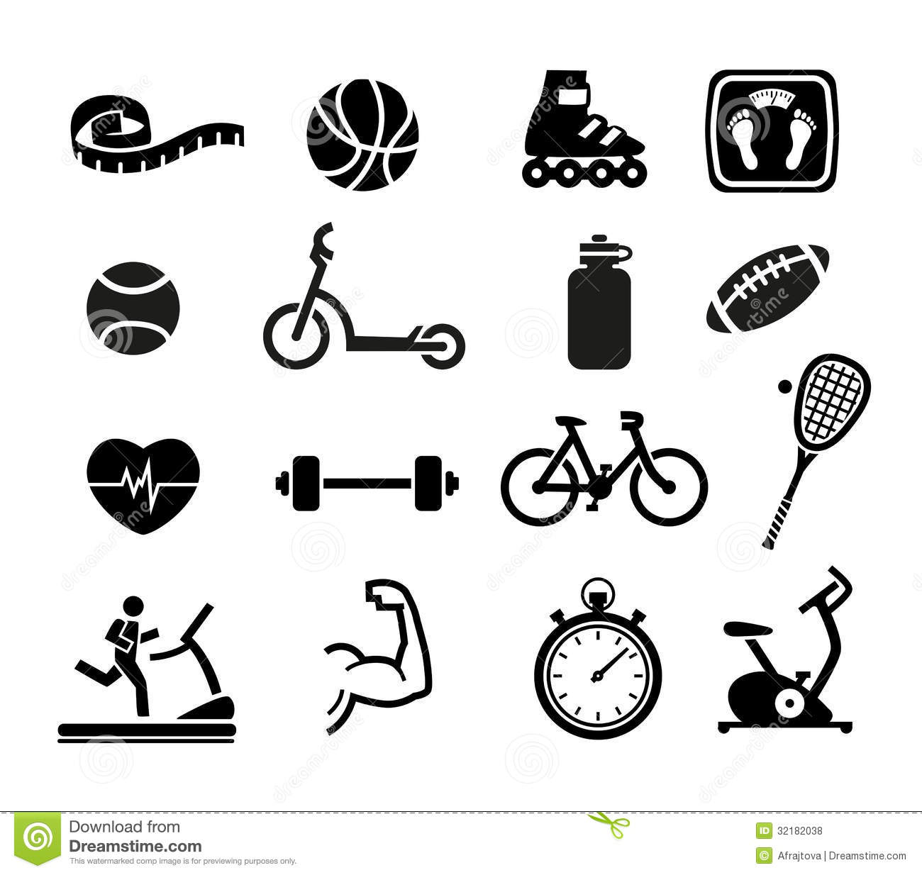Icons Fitness Exercise Gym Equipment Sports Activity