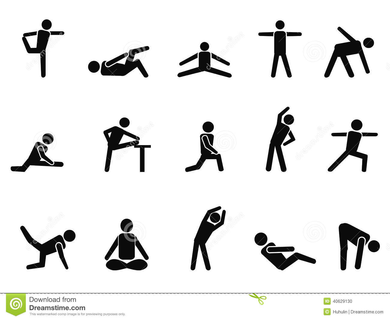 Exercise Stretching Icons Stock Vector Illustration Of