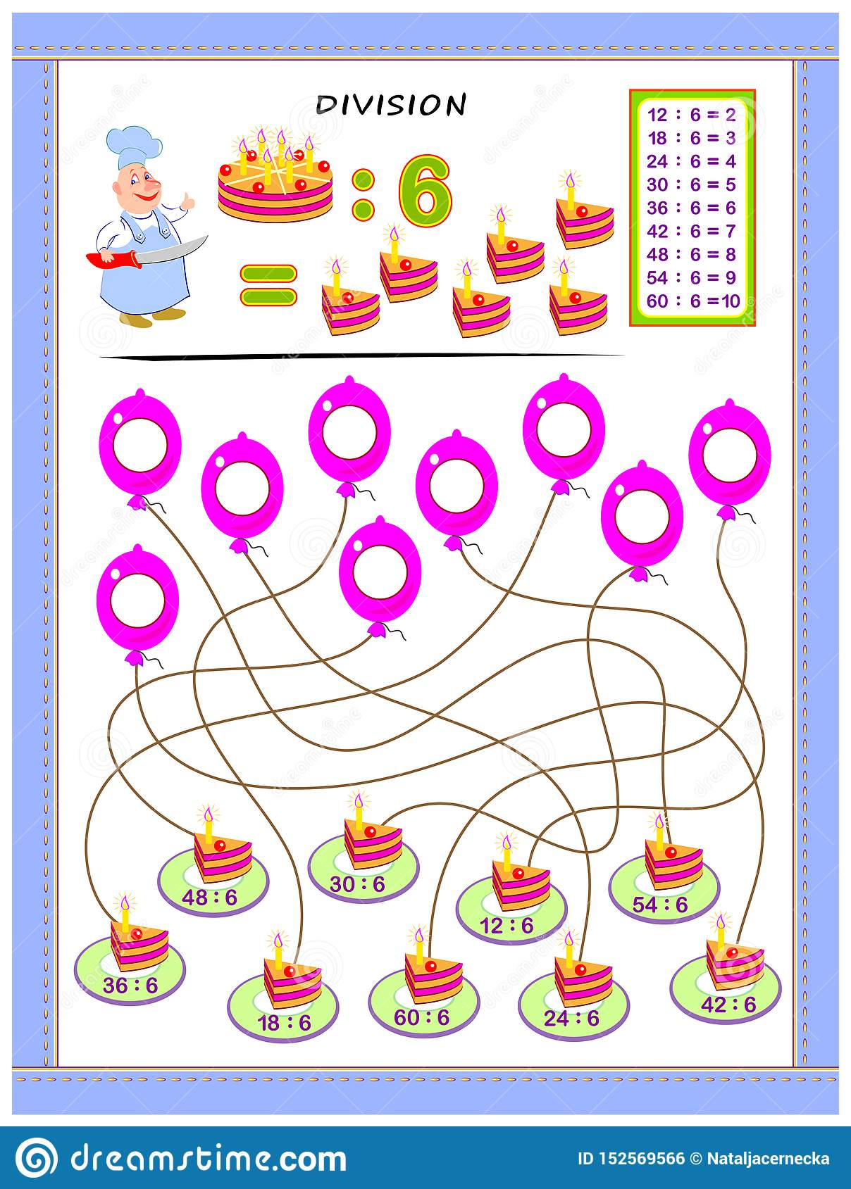 Exercises For Kids With Division Table By Number 6 Solve