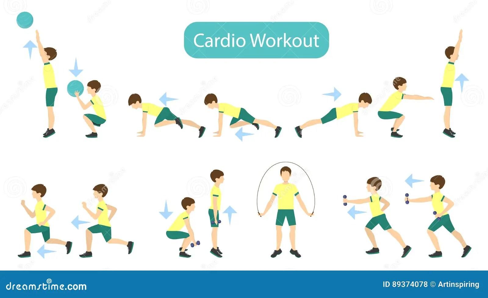 Exercises For Kids Set Stock Vector Illustration Of