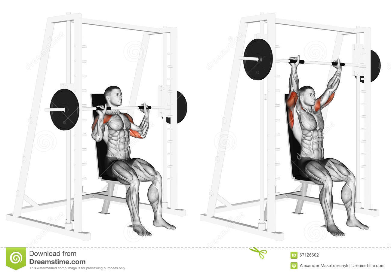 Exercising Smith Machine Shoulders Press Stock
