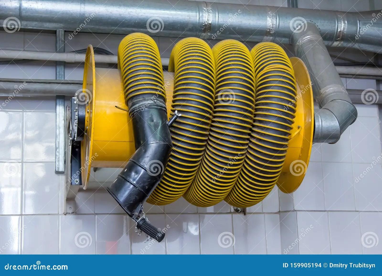 https www dreamstime com exhaust gas hose truck garage exhaust gas hose truck garage image159905194