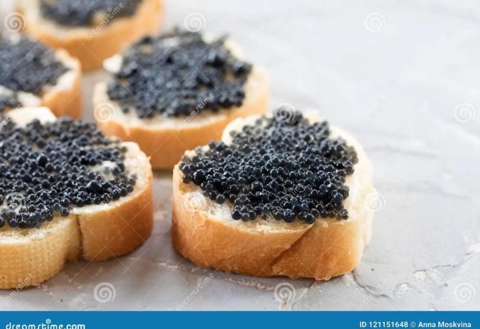 Expensive Delicious Black Caviar White Bread Sandwich Snack On W