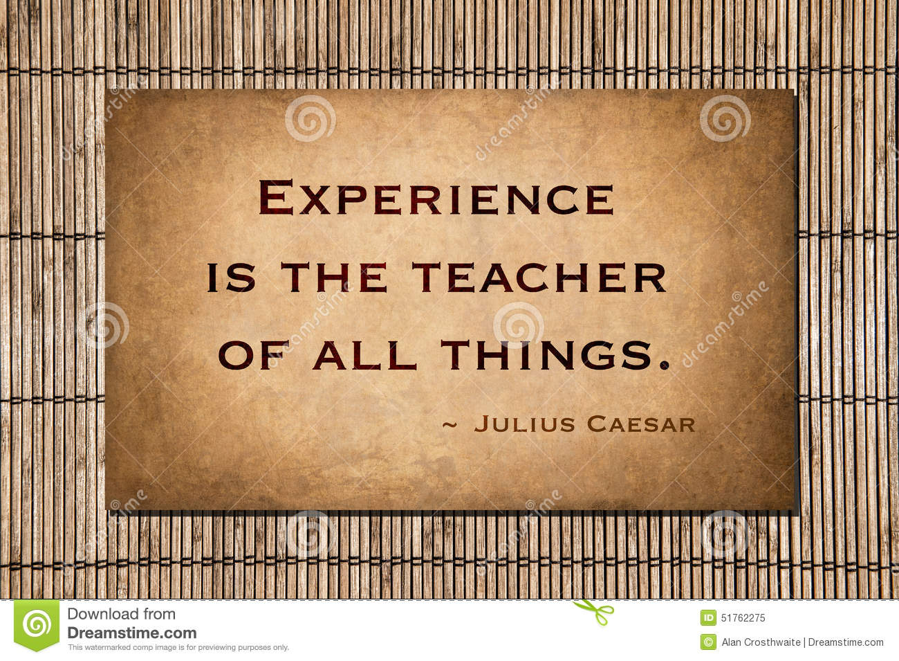 Experience Is The Teacher Of All Things Stock Photo