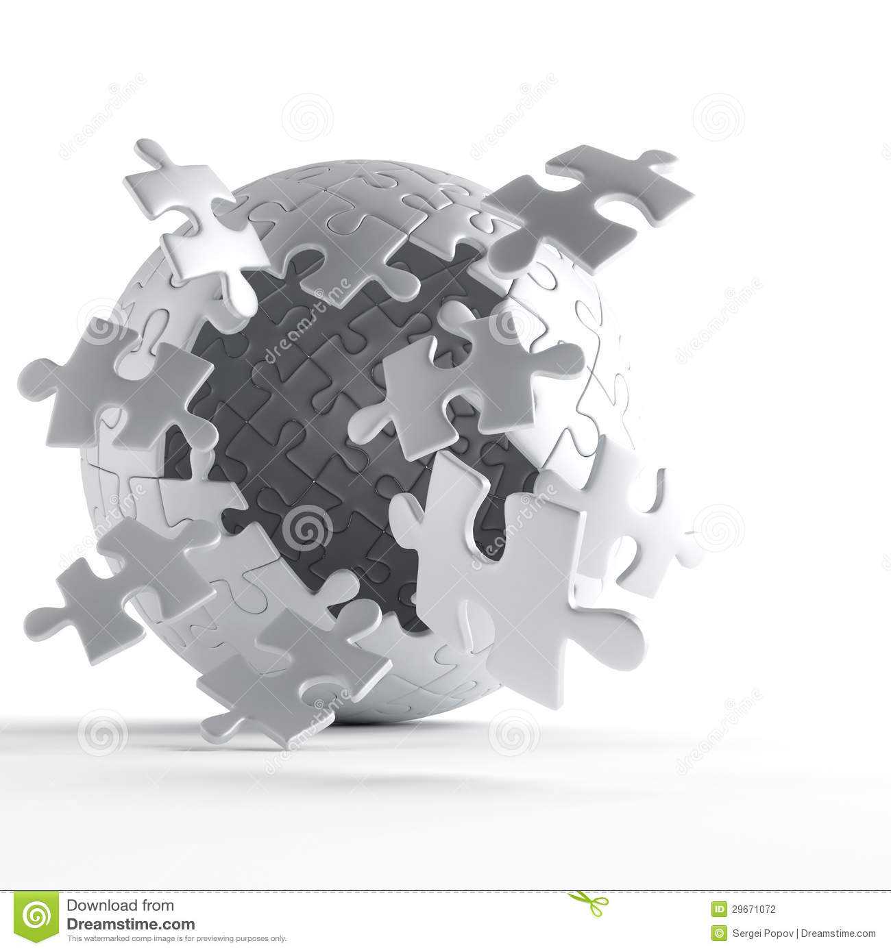 Gray Globe Puzzle Pieces