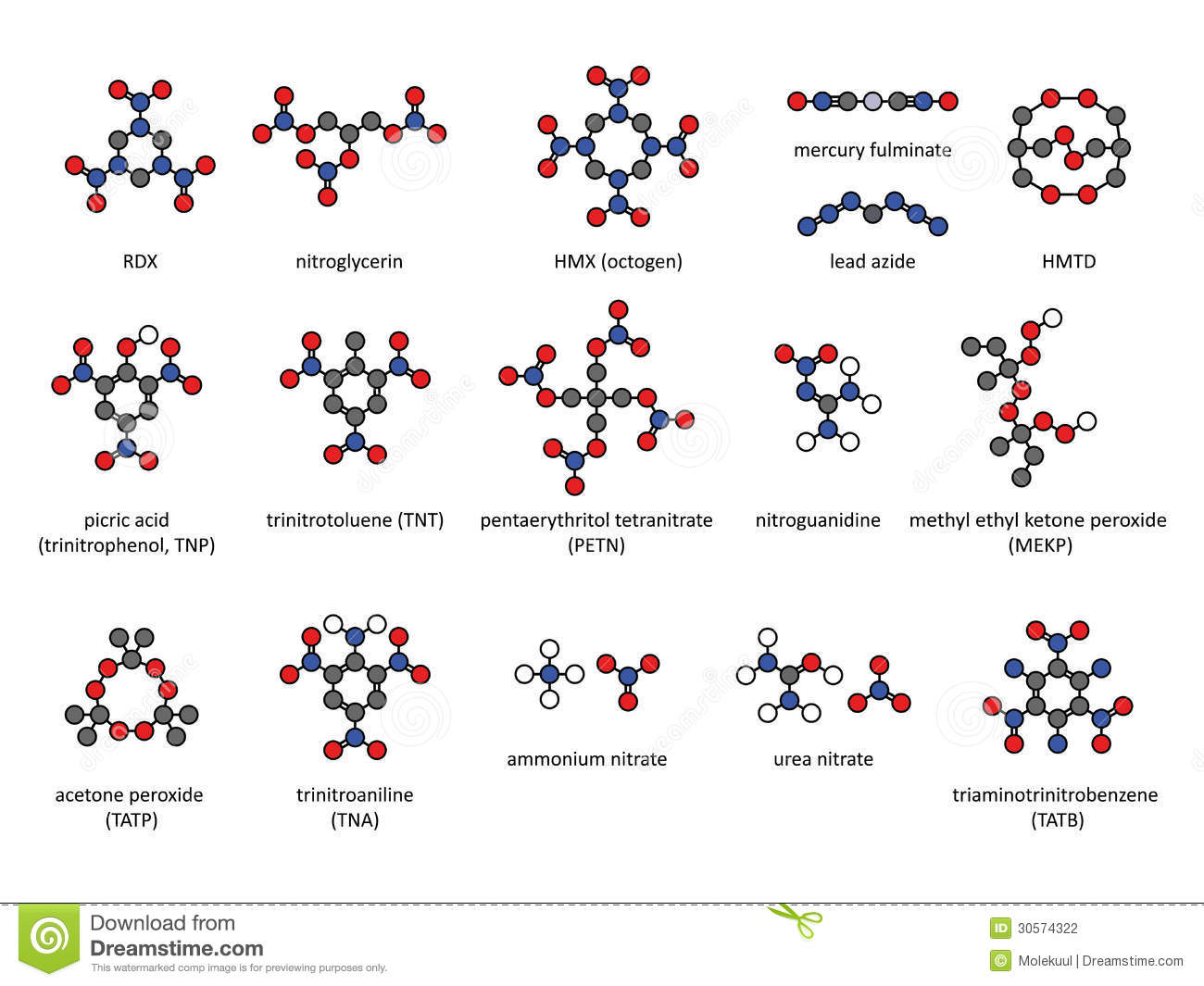 Explosive Compounds 2d Chemical Structures Set Stock