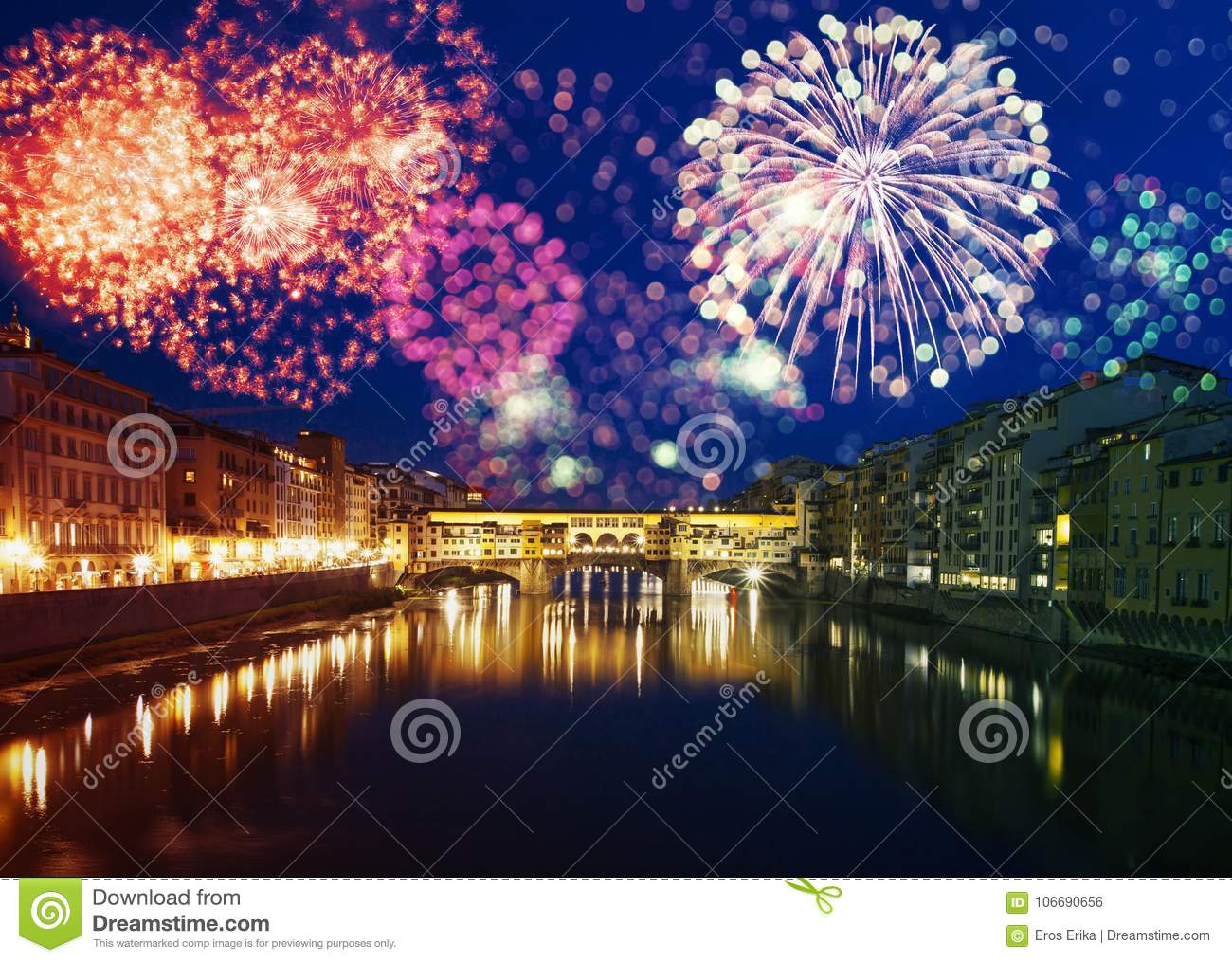 Florence With Fireworks   Celebrating New Year In The City Stock     Download comp