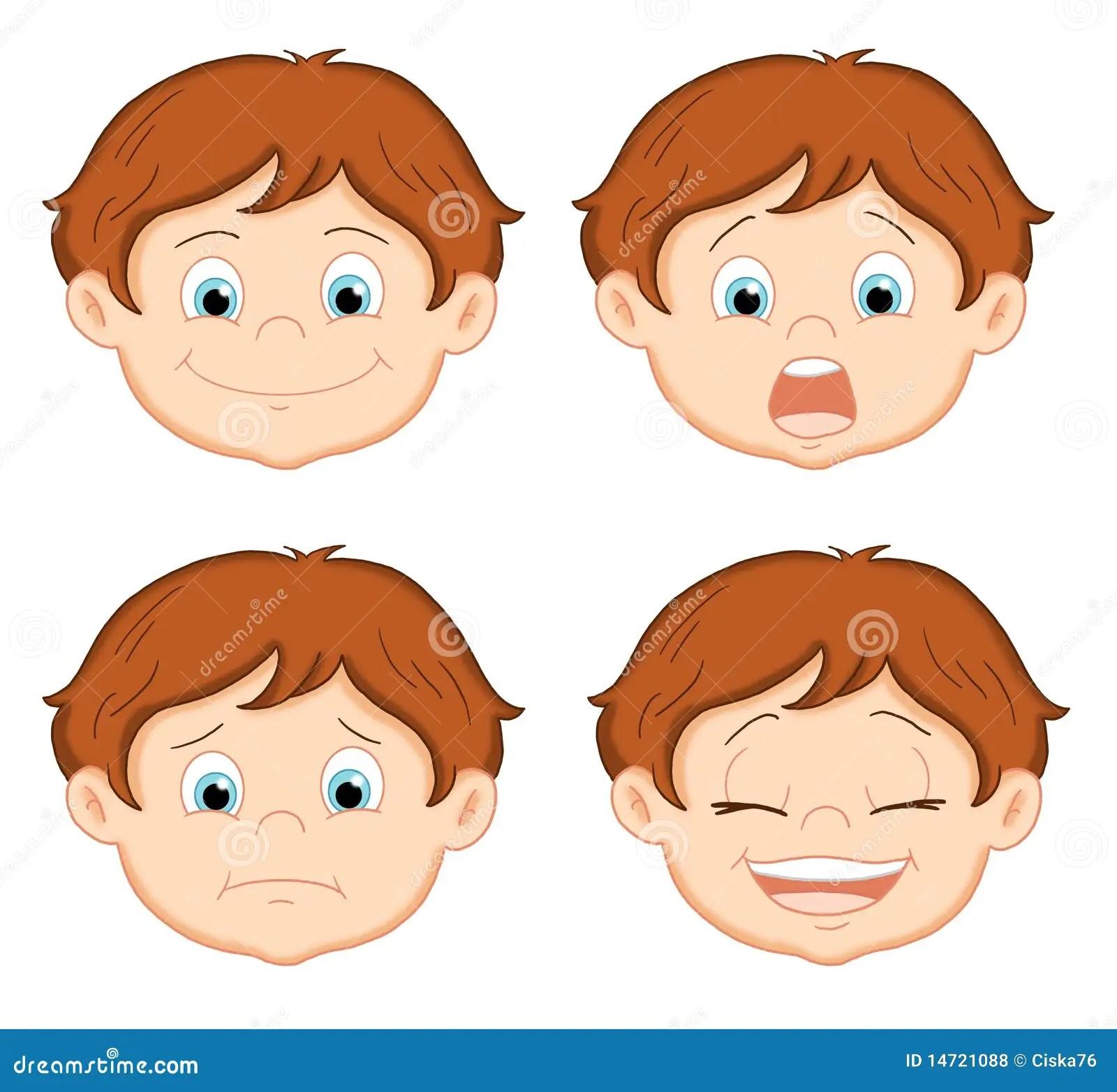ilustración coloreada de la cara de un niño con cuatro diversas