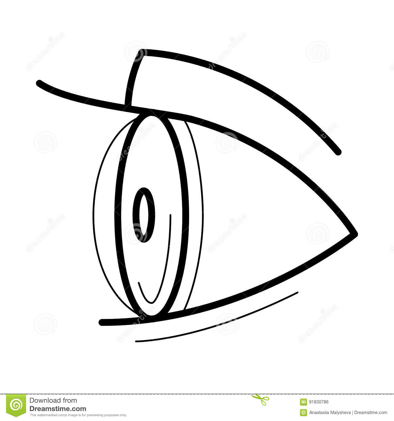 Eye With Contact Lens Icon Stock Vector