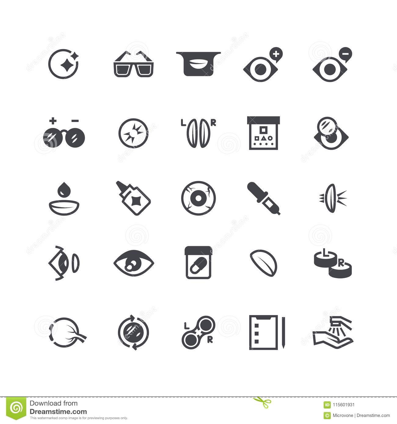 Eye Problems Optical Contact Lens And Eyeglasses Icons
