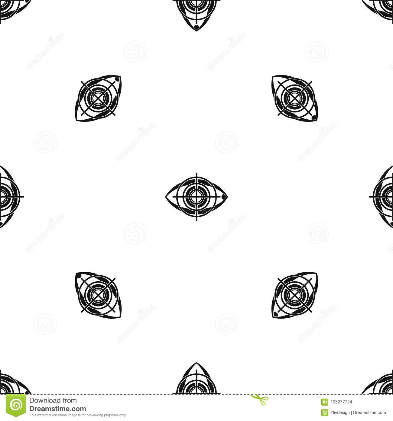Eye And Target Pattern Seamless Black Stock Vector