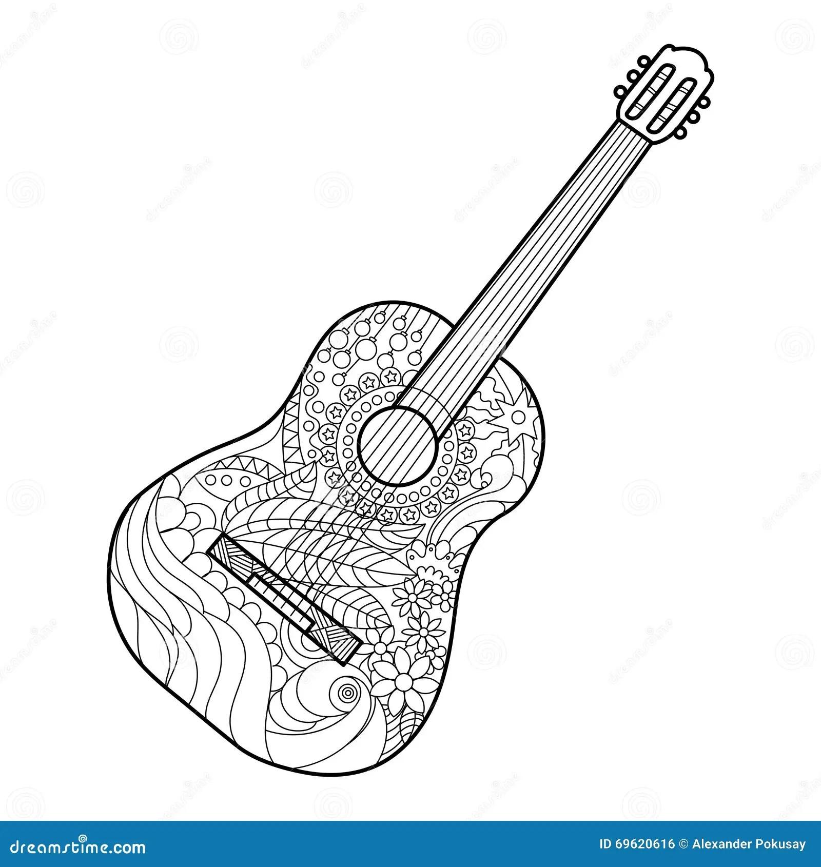 Farglaggningbok For Akustisk Gitarr For Vuxen