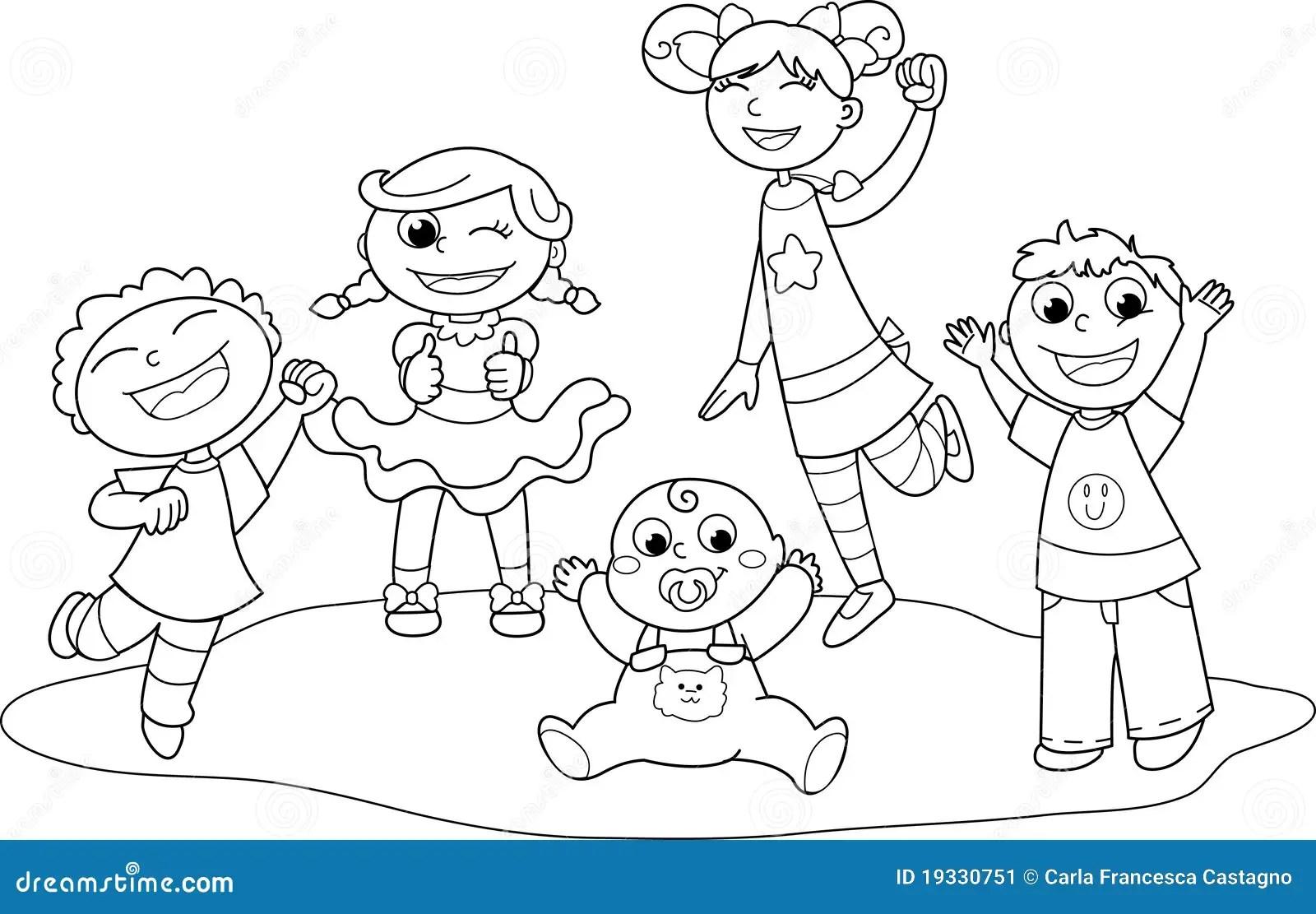 Funf Gluckliche Kinder Vektor Abbildung Illustration Von