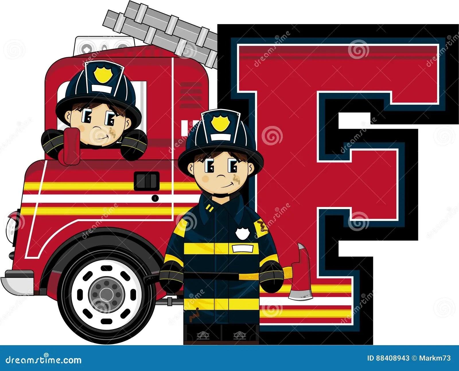 F Is For Fireman Stock Vector Illustration Of Firemen
