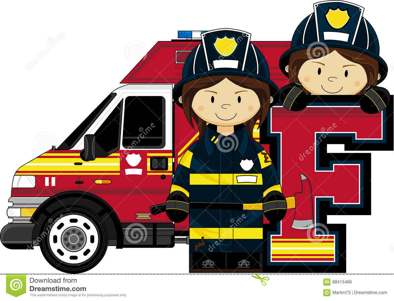 F Is For Fireman Stock Vector Illustration Of Letters